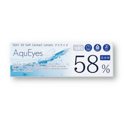 アクアイズ(AquEyes 1Day)/クリアコンタクトレンズ/-1.00/30枚入/14.2/8.7/ワンデー/高含水率/UV/58%